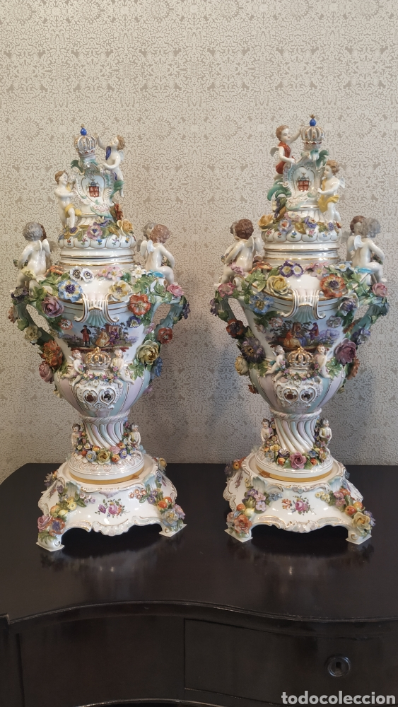 ESPECTACULAR PAREJA DE JARRONES DRESDEN SIGLO XIX. PORCELANA ALEMANA ANTIGUA. (Antigüedades - Porcelana y Cerámica - Alemana - Meissen)