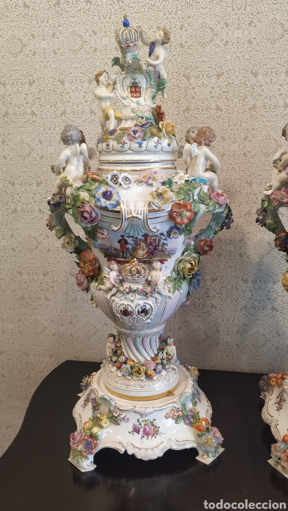 Antigüedades: Espectacular pareja de jarrones Dresden siglo XIX. Porcelana alemana antigua. - Foto 2 - 171789539