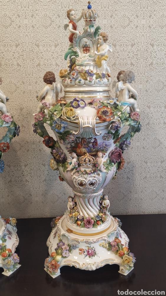 Antigüedades: Espectacular pareja de jarrones Dresden siglo XIX. Porcelana alemana antigua. - Foto 4 - 171789539