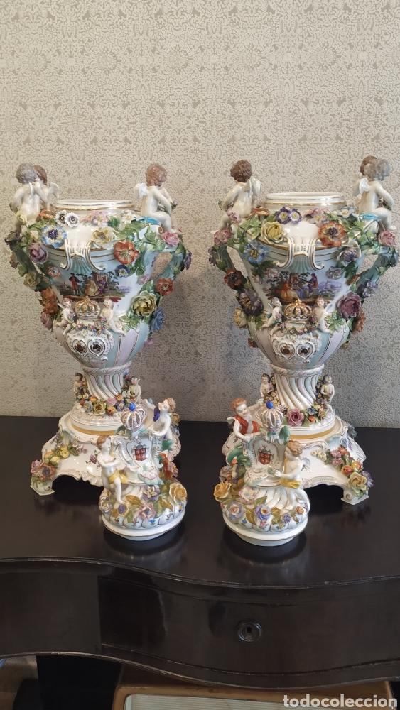 Antigüedades: Espectacular pareja de jarrones Dresden siglo XIX. Porcelana alemana antigua. - Foto 6 - 171789539