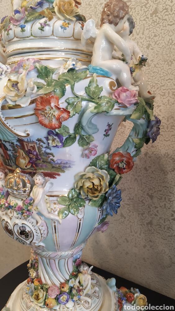 Antigüedades: Espectacular pareja de jarrones Dresden siglo XIX. Porcelana alemana antigua. - Foto 8 - 171789539