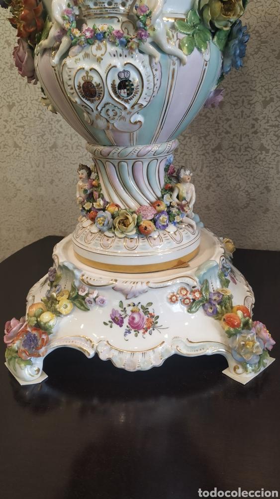Antigüedades: Espectacular pareja de jarrones Dresden siglo XIX. Porcelana alemana antigua. - Foto 9 - 171789539