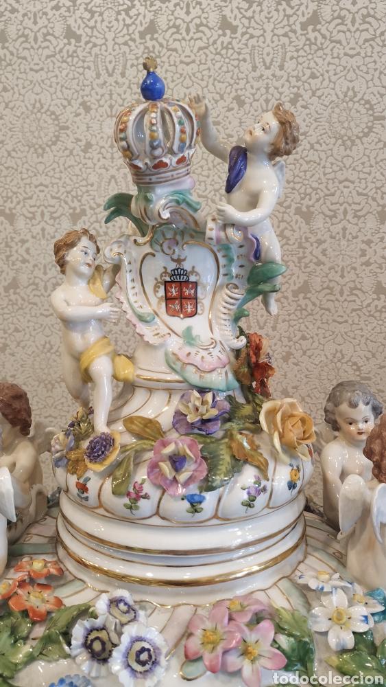 Antigüedades: Espectacular pareja de jarrones Dresden siglo XIX. Porcelana alemana antigua. - Foto 10 - 171789539