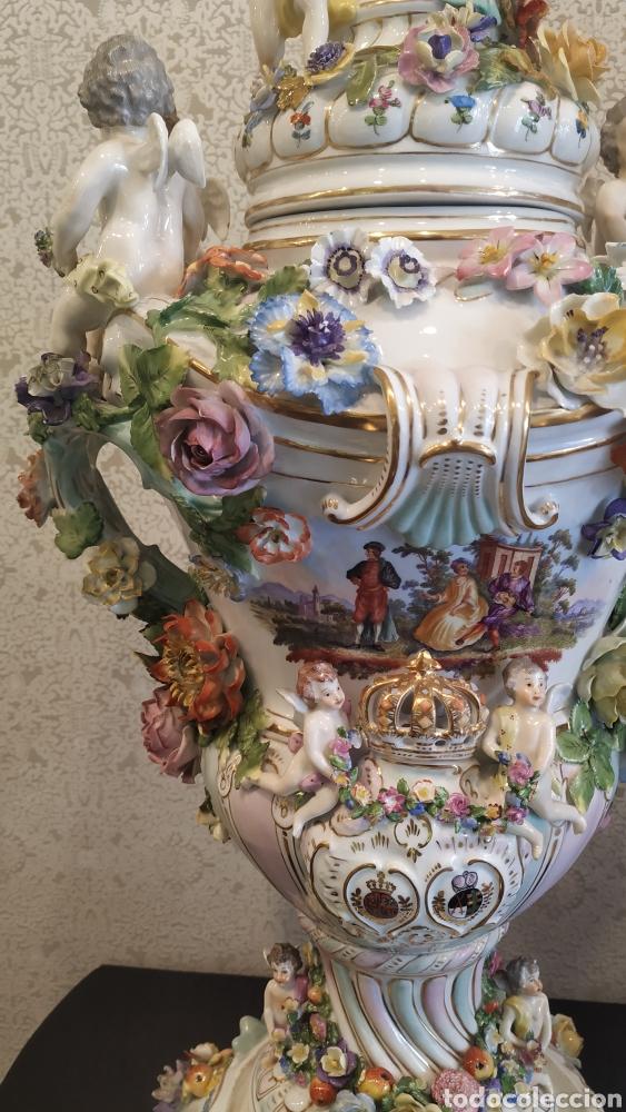 Antigüedades: Espectacular pareja de jarrones Dresden siglo XIX. Porcelana alemana antigua. - Foto 11 - 171789539