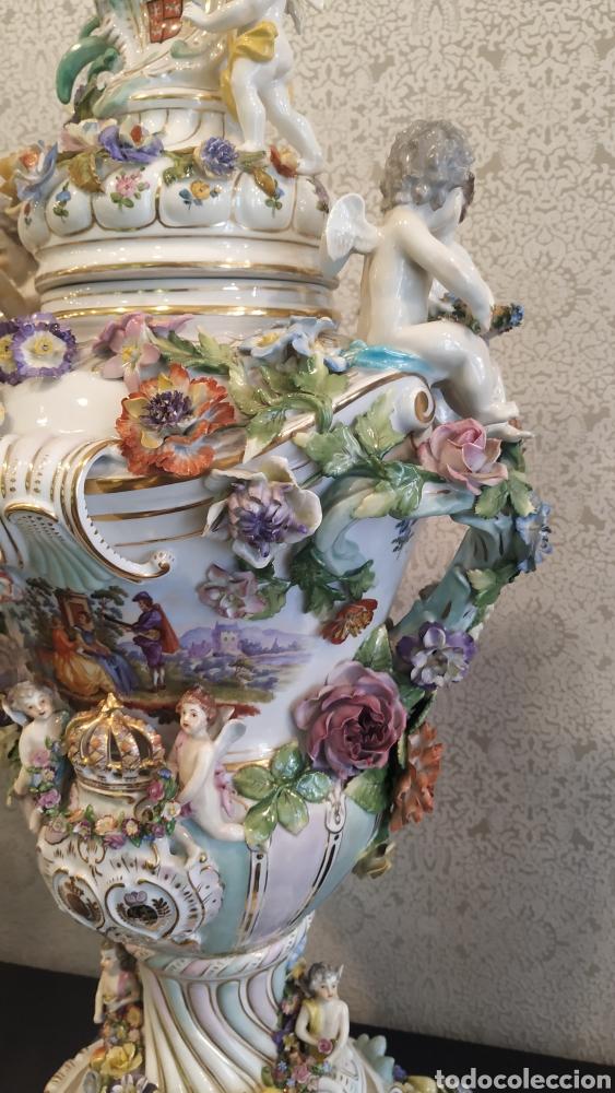 Antigüedades: Espectacular pareja de jarrones Dresden siglo XIX. Porcelana alemana antigua. - Foto 12 - 171789539