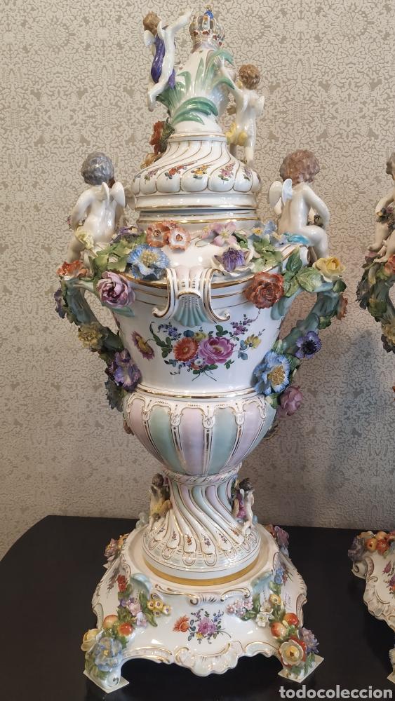 Antigüedades: Espectacular pareja de jarrones Dresden siglo XIX. Porcelana alemana antigua. - Foto 13 - 171789539