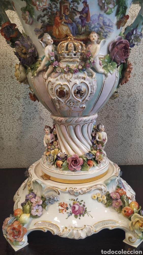 Antigüedades: Espectacular pareja de jarrones Dresden siglo XIX. Porcelana alemana antigua. - Foto 14 - 171789539