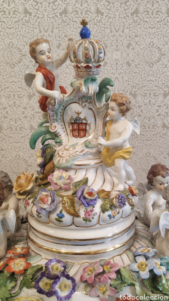 Antigüedades: Espectacular pareja de jarrones Dresden siglo XIX. Porcelana alemana antigua. - Foto 16 - 171789539
