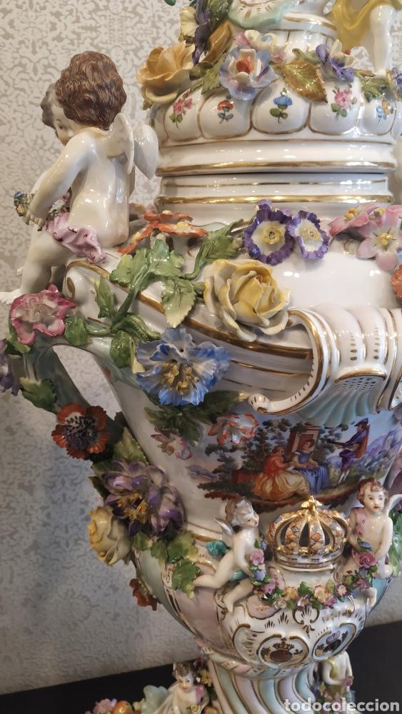 Antigüedades: Espectacular pareja de jarrones Dresden siglo XIX. Porcelana alemana antigua. - Foto 17 - 171789539