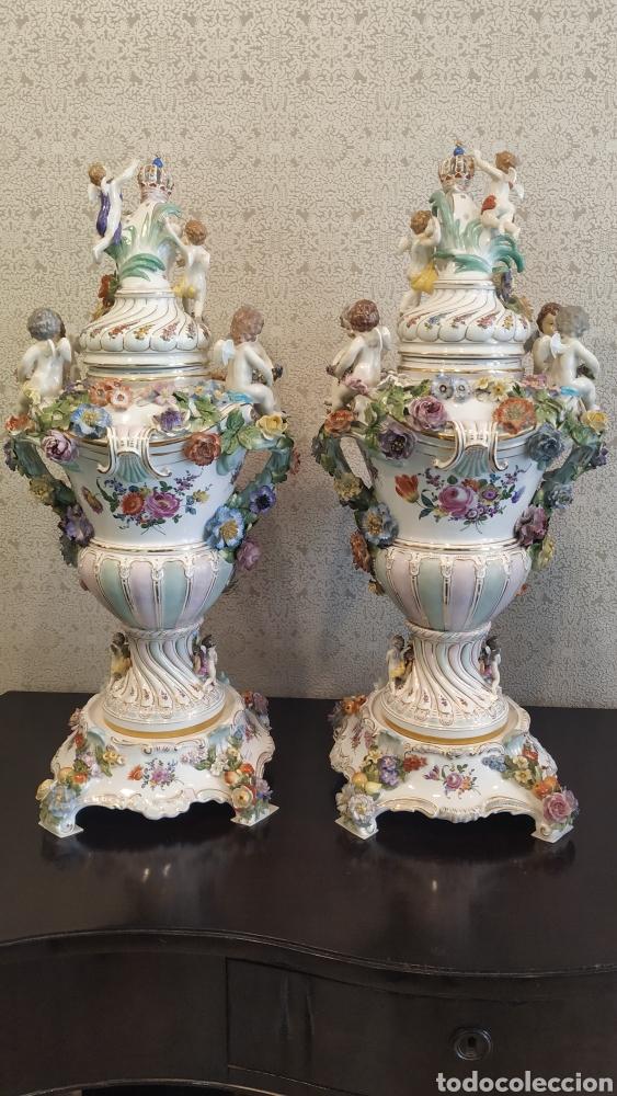 Antigüedades: Espectacular pareja de jarrones Dresden siglo XIX. Porcelana alemana antigua. - Foto 18 - 171789539
