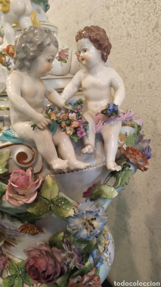 Antigüedades: Espectacular pareja de jarrones Dresden siglo XIX. Porcelana alemana antigua. - Foto 19 - 171789539