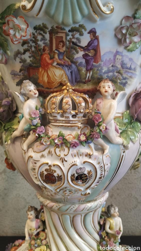 Antigüedades: Espectacular pareja de jarrones Dresden siglo XIX. Porcelana alemana antigua. - Foto 20 - 171789539