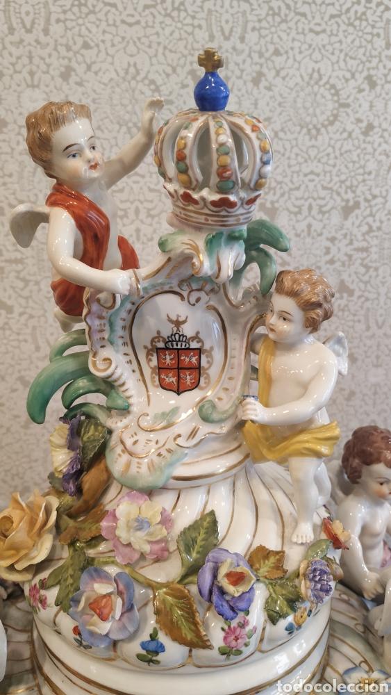 Antigüedades: Espectacular pareja de jarrones Dresden siglo XIX. Porcelana alemana antigua. - Foto 21 - 171789539