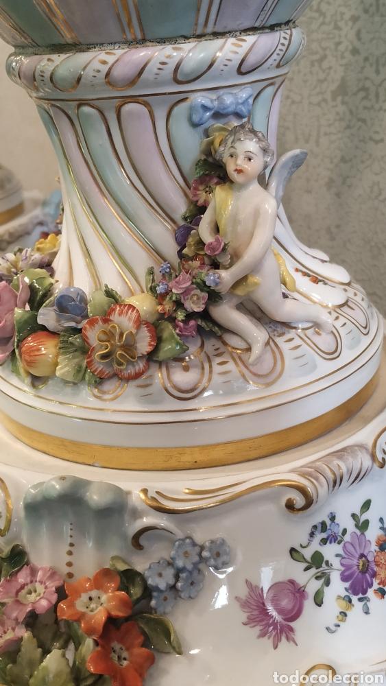 Antigüedades: Espectacular pareja de jarrones Dresden siglo XIX. Porcelana alemana antigua. - Foto 22 - 171789539