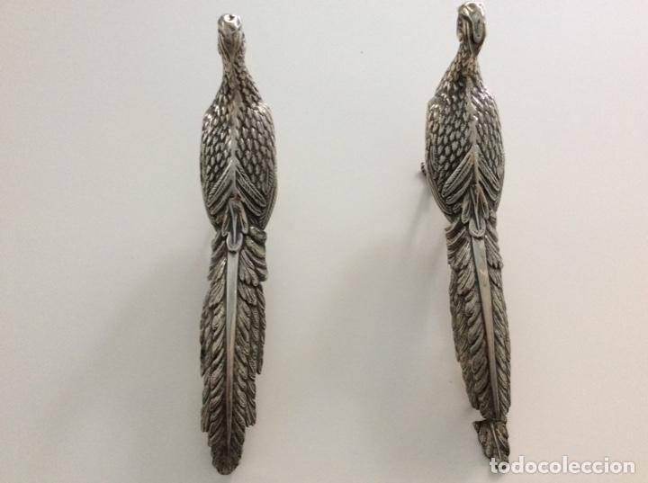 Antigüedades: Pareja de faisanes de plata de ley. Año 1976 - Foto 6 - 171789999