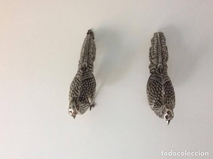 Antigüedades: Pareja de faisanes de plata de ley. Año 1976 - Foto 9 - 171789999