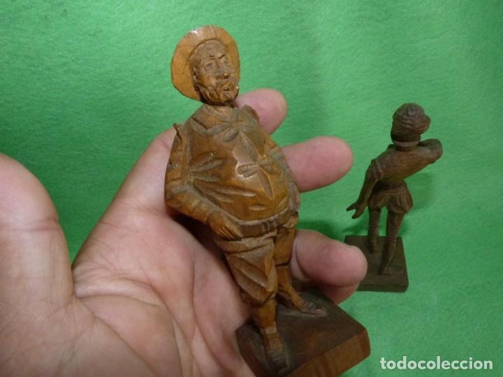 Antigüedades: GENIAL PAREJA DON QUIJOTE Y SANCHO PANZA FIGURA TALLA MADERA ESCULTURA VINTAGE 60 - Foto 3 - 171832152