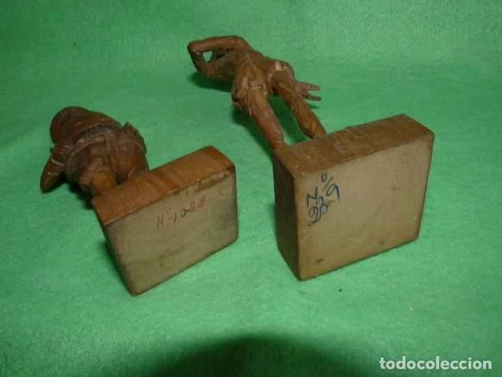 Antigüedades: GENIAL PAREJA DON QUIJOTE Y SANCHO PANZA FIGURA TALLA MADERA ESCULTURA VINTAGE 60 - Foto 5 - 171832152