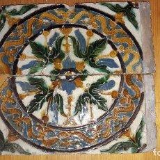 Antigüedades: AZULEJOS DE DOS EN TABLA ARISTA SEVILLA S.XVI. Lote 179308827