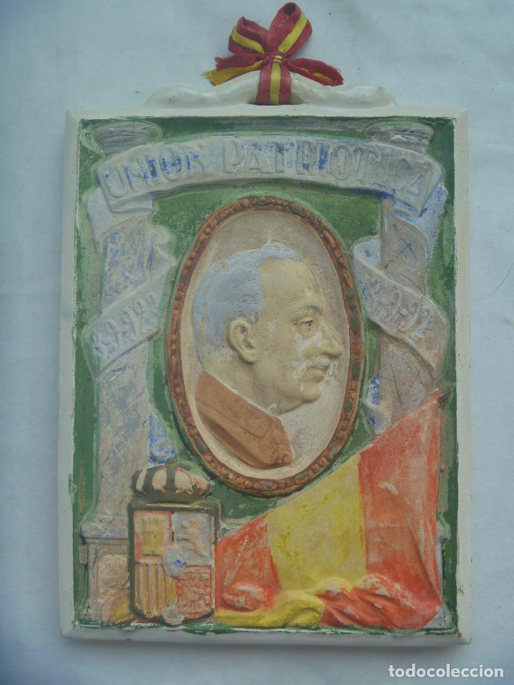 RARISIMA PLACA DE CERAMICA DE LA UNION PATRIOTICA DE MIGUEL PRIMO DE RIVERA , 1923 (Antigüedades - Porcelanas y Cerámicas - Otras)