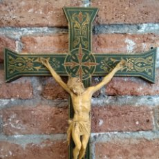 Antigüedades: ANTIGUO CRUCIFIJO, CRUZ MADERA CRISTO YESO. Lote 171958508