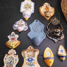 Antigüedades: LOTE DE 10 ANTIGUAS BENDITERAS. Lote 171964068