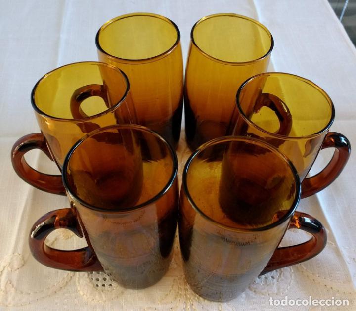 JUEGO DE 6 VASOS, CRISTAL ANTIGUO (Antigüedades - Cristal y Vidrio - Otros)