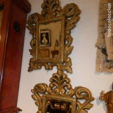 Antigüedades: PAREJA DE CORNUCOPIAS ESPEJOS BISELADOS, ESCAYOLA DORADA. MIDE 36 X 28. FOTOS. Lote 171970980