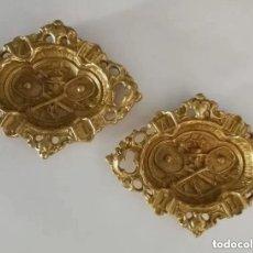 Antigüedades: 2 CENICEROS DE BRONCE MACIZO ANTIGUOS. Lote 171975377