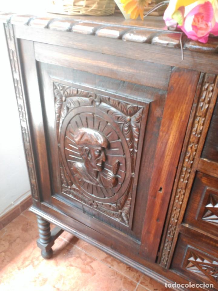 Antigüedades: APARADOR DE ROBLE TALLADO - Foto 3 - 172000468