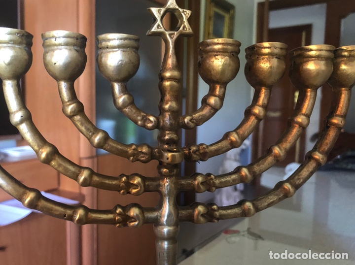 Antigüedades: Candelabro judío ocho brazo en bronce - Foto 3 - 172003688