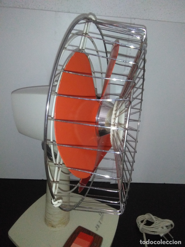 Antigüedades: Ventilador de sobremesa Jet 12 Blanco y naranja 3 velocidades vintage - Foto 12 - 172011433
