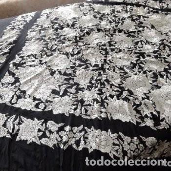 Antigüedades: MANTON MANILA SEDA BORDADO FLECOS - Foto 3 - 172011598