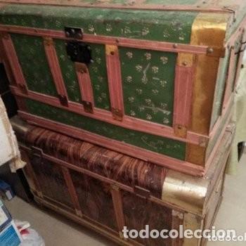 LOTE DE 2 BAÚLES AÑOS 60. ACEPTABLE ESTADO, TAL COMO SE VEN EN LA FOTO (Antigüedades - Muebles Antiguos - Baúles Antiguos)