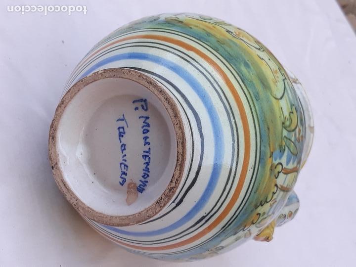 Antigüedades: JARRA ANTIGUA DE DOS ASAS DE TALAVERA DE LA REINA - FIRMADA: MONTEMAYOR. - Foto 5 - 172022562