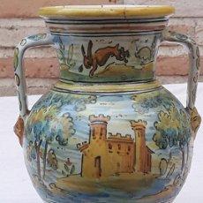 Antigüedades: JARRA ANTIGUA DE DOS ASAS DE TALAVERA DE LA REINA - FIRMADA: MONTEMAYOR.. Lote 172022562