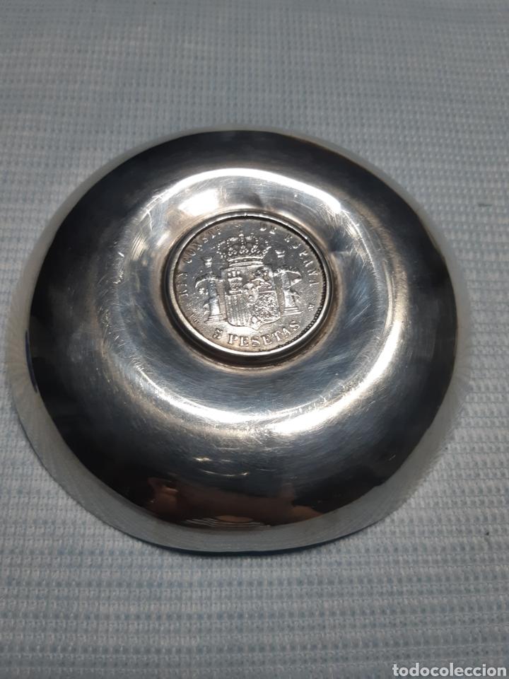 Antigüedades: BANDEJA DE PLATA CON MONEDA DE 5 PESETAS ALFONSO XIII 1891 - Foto 2 - 172024267