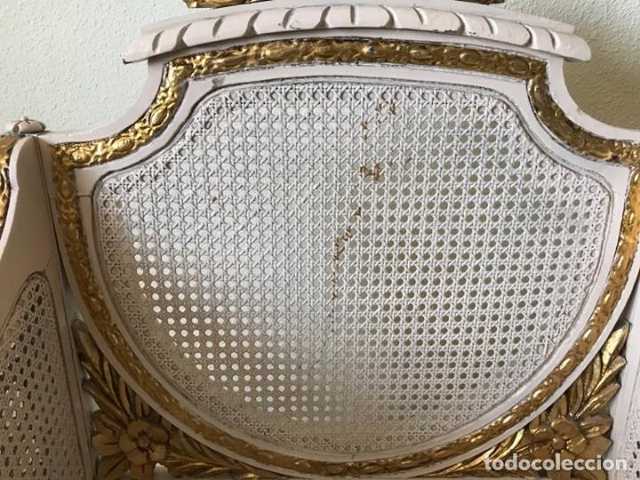 Antigüedades: CONJUNTO TRESILLO DE DOS, 2 SILLAS Y DOS SILLONES DE REJILLA ESTILO LUIS XVI - Foto 31 - 269069098