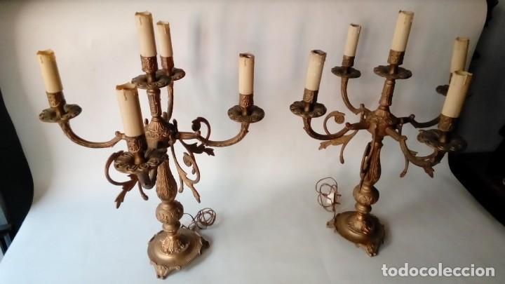 CANDELABROS PAREJA- (Antigüedades - Iluminación - Candelabros Antiguos)