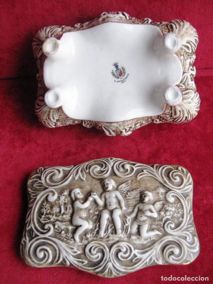 Antigüedades: CAJA JOYERO CON ESCENAS DE QUERUBINES, EN PORCELANA O CERÁMICA DE CAPODIMONTE. PERFECTO - Foto 16 - 172060735