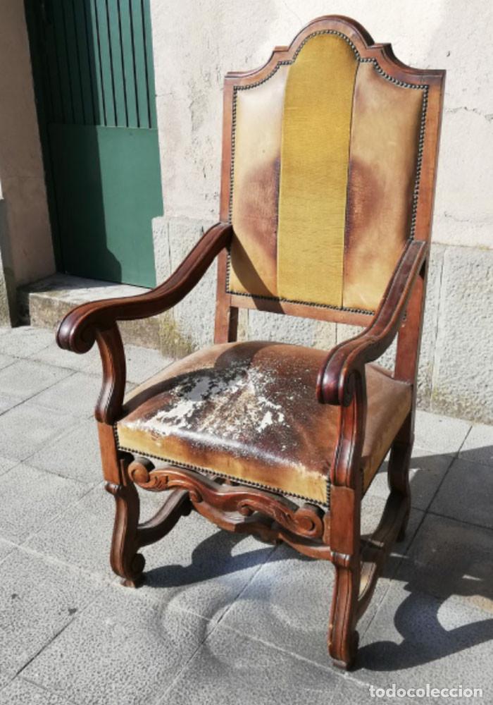 8 SILLAS ESTILO LUIS XIV MADERA DE NOGAL, BUEN ESTADO (Antigüedades - Muebles Antiguos - Sillas Antiguas)