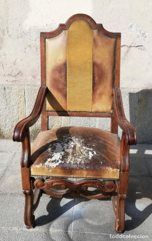 Antigüedades: 8 Sillas estilo Luis XIV Madera de Nogal, buen estado - Foto 2 - 172066963