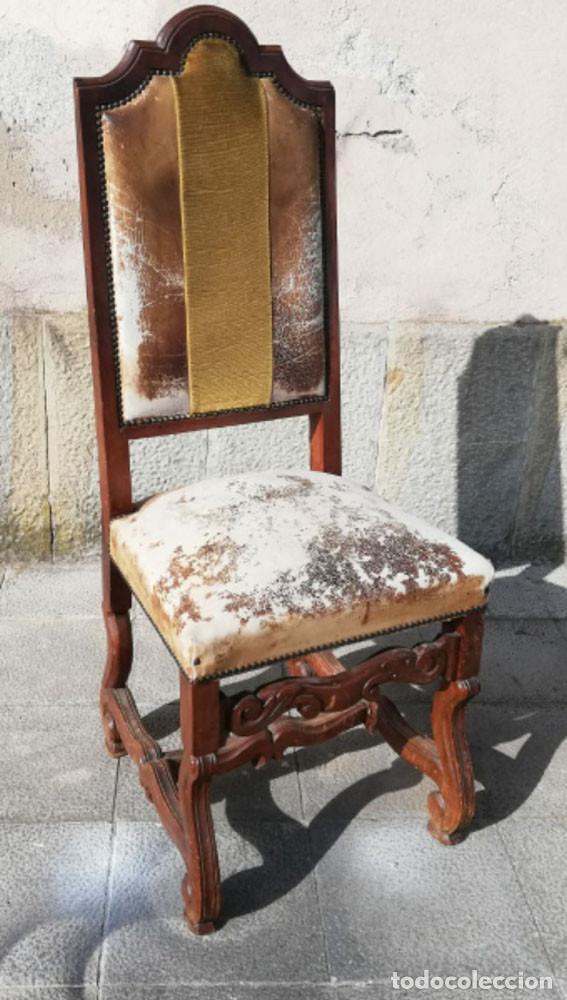 Antigüedades: 8 Sillas estilo Luis XIV Madera de Nogal, buen estado - Foto 6 - 172066963