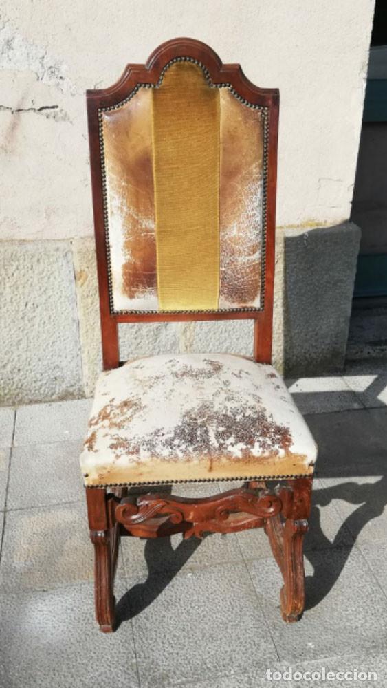 Antigüedades: 8 Sillas estilo Luis XIV Madera de Nogal, buen estado - Foto 7 - 172066963