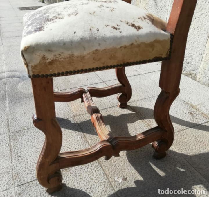 Antigüedades: 8 Sillas estilo Luis XIV Madera de Nogal, buen estado - Foto 9 - 172066963