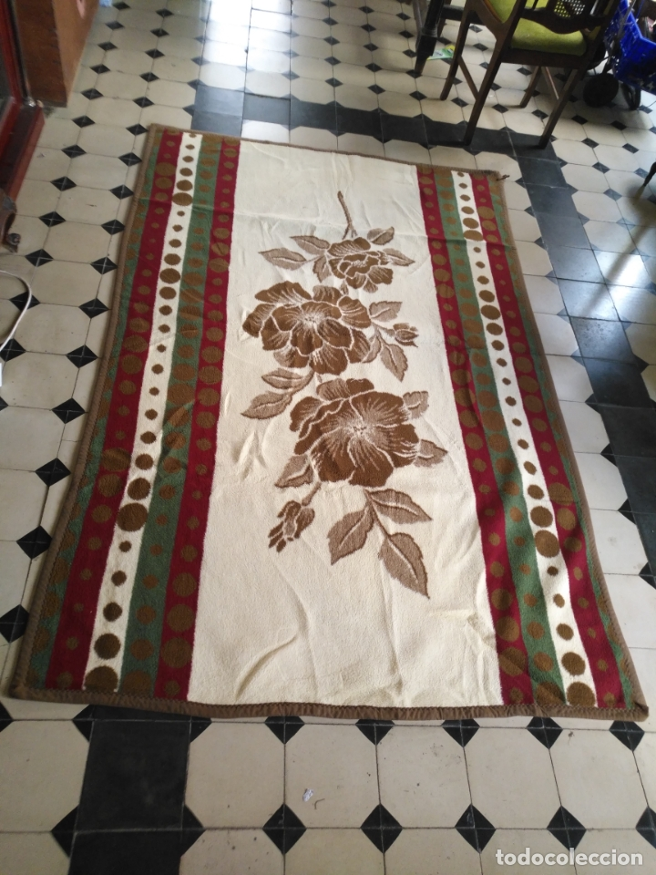 Antigüedades: antigua colcha manta de invierno para cama - floral reversible 225x147 cm - Foto 6 - 172068574