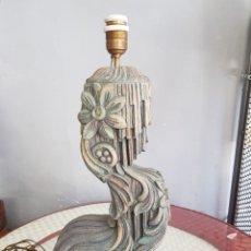 Antigüedades: ENORME LAMPARA ANTIGUA EN TALLA MADERA EXCEPCIONAL. Lote 172071237