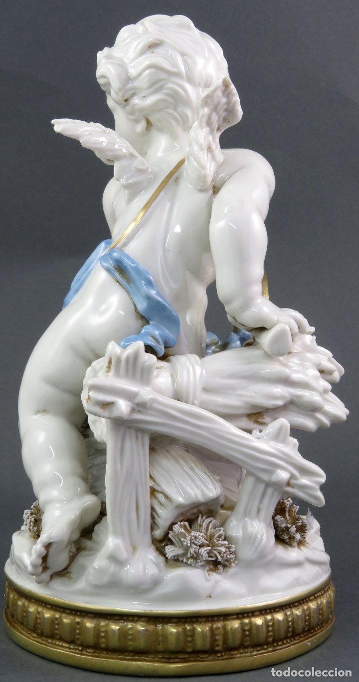 Antigüedades: Angel cupido en porcelana blanca de Algora siglo XX - Foto 5 - 172074528