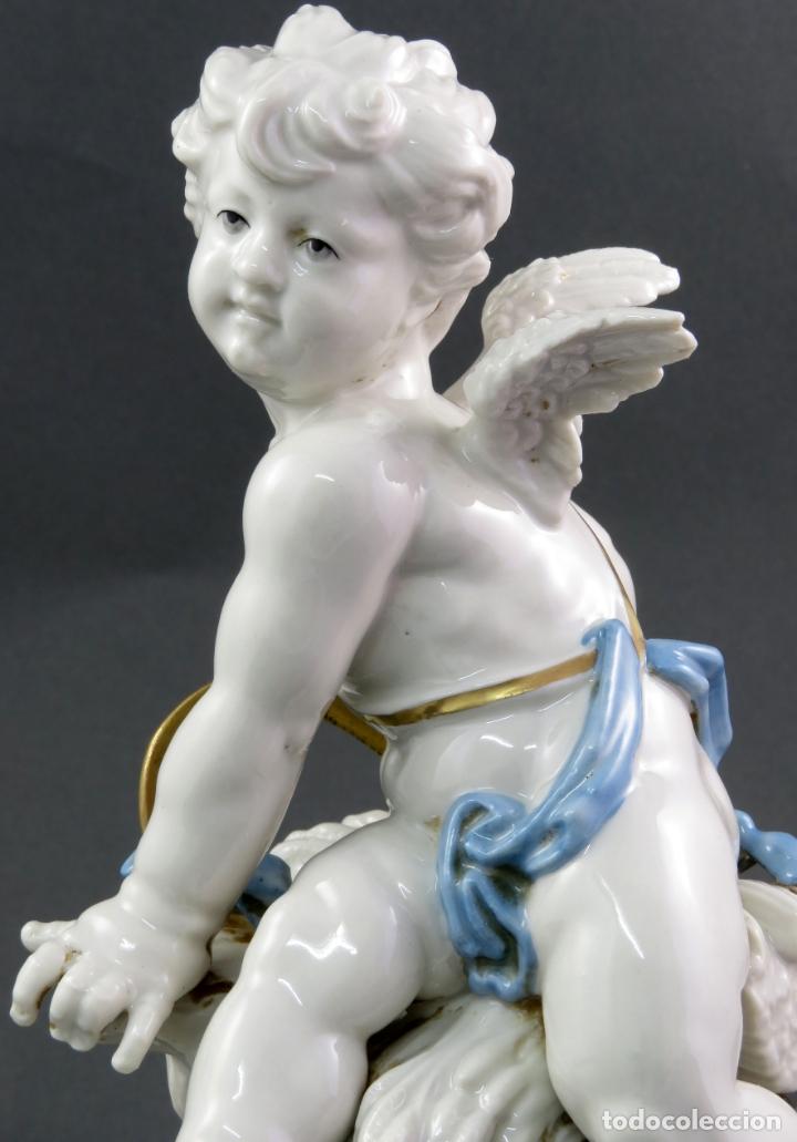 Antigüedades: Angel cupido en porcelana blanca de Algora siglo XX - Foto 6 - 172074528