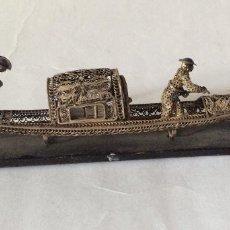 Antigüedades: ANTIGUA GÓNDOLA VENECIANA EN FILIGRANA DE PLATA . Lote 172080700